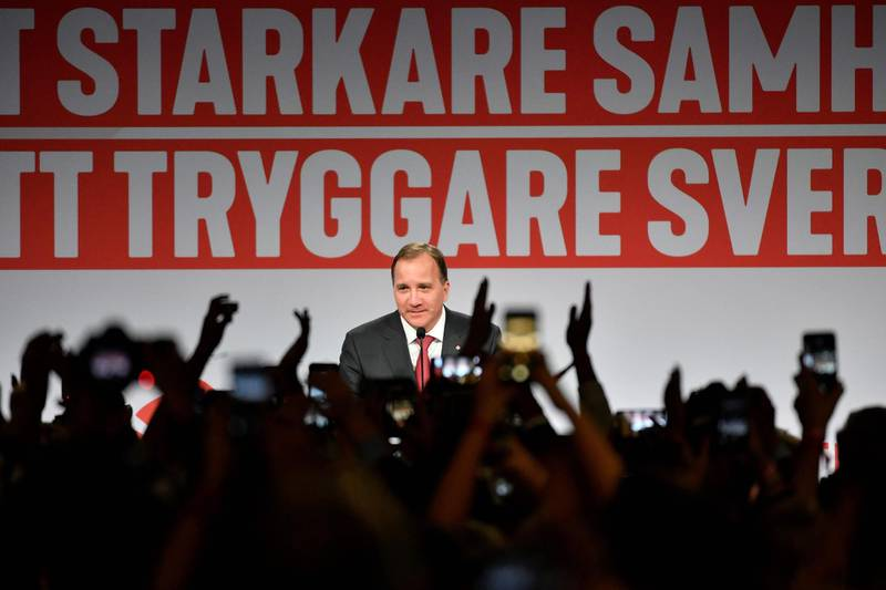 TOPSHOT - Prime minister and party leader of the Social democrat party Stefan Lofven addresses supporters at an election night party following general election results in Stockholm on September 9, 2018. (Photo by Jonas EKSTROMER / TT NEWS AGENCY / AFP) / Sweden OUT