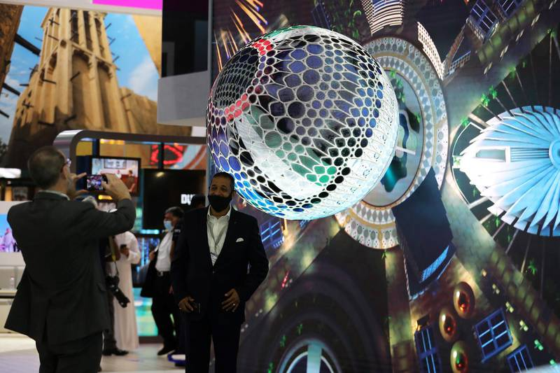 Visitors at the EXPO 2020 stand during the Arabian Travel Market held at Dubai World Trade Centre in Dubai on May 16,2021. Pawan Singh / The National. Story by Deena