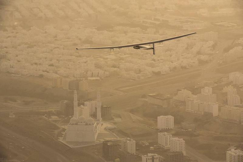 MUSCAT, OMAN - MARCH 10:  In this handout image supplied by Jean Revillard, Solar Impulse 2, a solar-powered airplane piloted by Bertrant Piccard, starts the day's journey bound for Ahmedabad, India March 10, 2015  over Muscat, Oman. With this 15:20-hour flight, Piccard set a new world record for solar distance flight with 1486 kilometers. The trip continues on March 16. The 35,000km journey is expected to last five months and is piloted by Andre Borschberg and Bertrand Piccard of Switzerland. The Solar Impulse 2 is equipped with 17,000 solar cells, has a wingspan of 72 metres, and yet weighs just over 2 tonnes. (Photo by Jean Revillard via Getty Images)