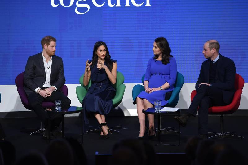 LONDON, ENGLAND - FEBRUARY 28:  Prince Harry, Meghan Markle, Catherine, Duchess of Cambridge and Prince William, Duke of Cambridge attend the first annual Royal Foundation Forum held at Aviva on February 28, 2018 in London, England. Under the theme 'Making a Difference Together', the event will showcase the programmes run or initiated by The Royal Foundation.  (Photo by Eddie Mulholland - WPA Pool/Getty Images)
