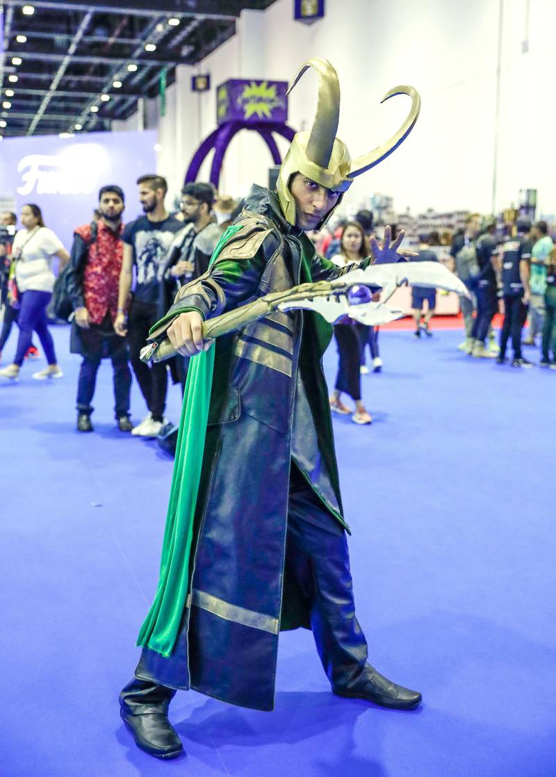 Dubai, April 12,2019.   MEFCC day 2-Asad Mudeer in his Loki get-up.Victor Besa/The National.Section:  AcReporter:  Chris Newbould