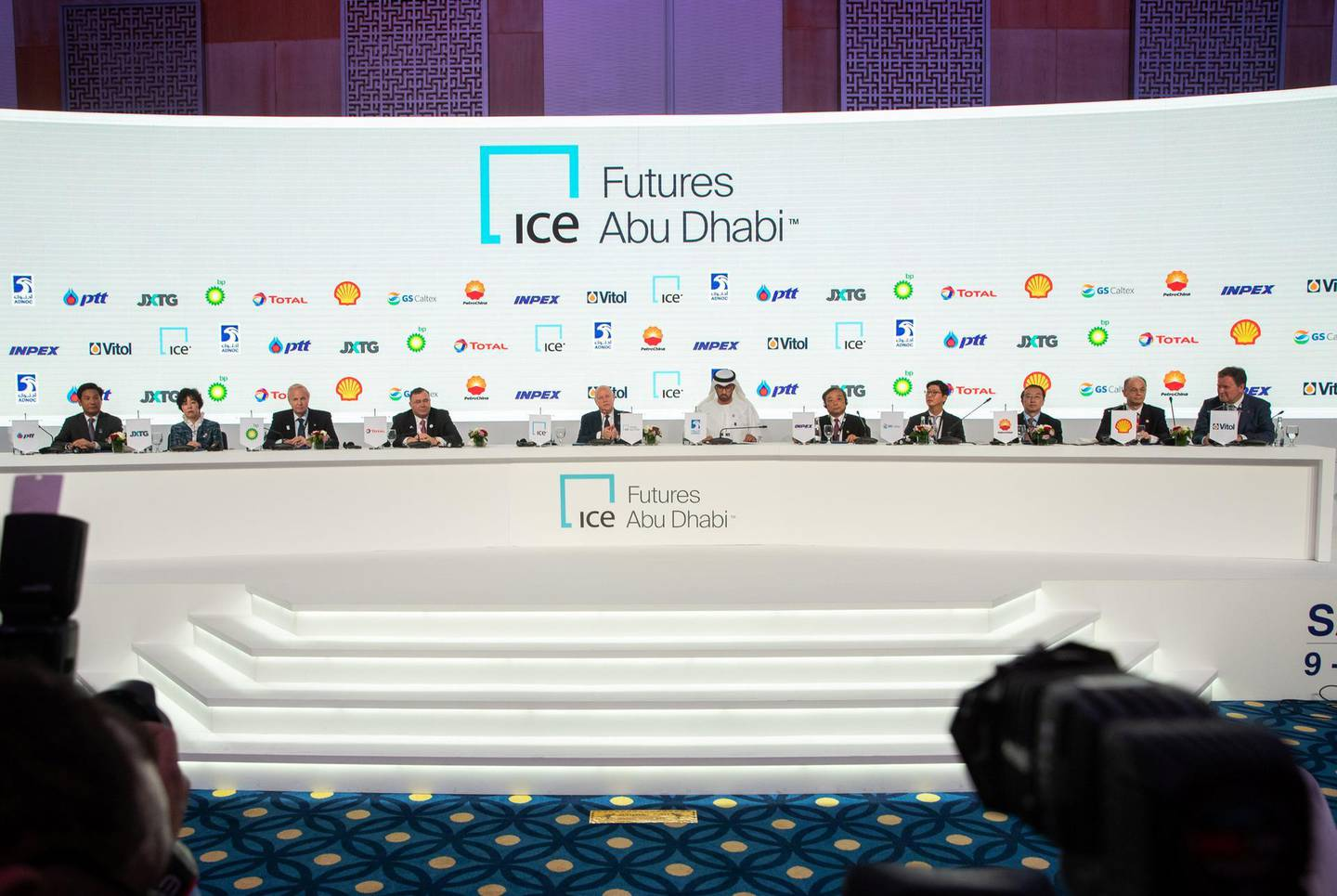 Abu Dhabi, United Arab Emirates, November 11, 2019.  ADIPEC day 1 PRESS Conference.--  (centre) H.E. Sultan Ahmed Al Jaber, Minister of State, United Arab Emirates, the Director-General and CEO of the Abu Dhabi National Oil Company (ADNOC Group), during the Press Conference.Victor Besa / The NationalSection:  NAReporter:  Jennifer Gnana