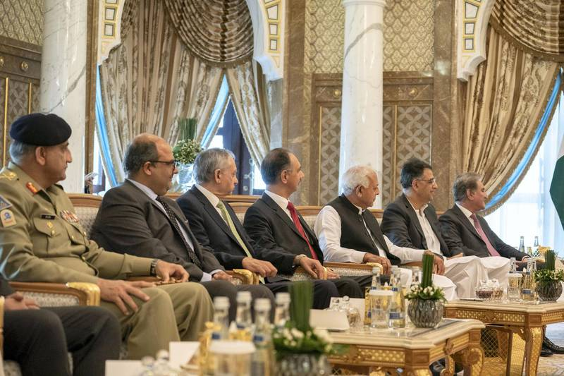 ABU DHABI, UNITED ARAB EMIRATES - November 18, 2018: Delegation members accompanying HE Imran Khan, Prime Minister of Pakistan? (not shown), attend a meeting with HH Sheikh Mohamed bin Zayed Al Nahyan, Crown Prince of Abu Dhabi and Deputy Supreme Commander of the UAE Armed Forces (not shown), at the Presidential Palace.  ( Hamad Al Kaabi / Ministry of Presidential Affairs )? ---
