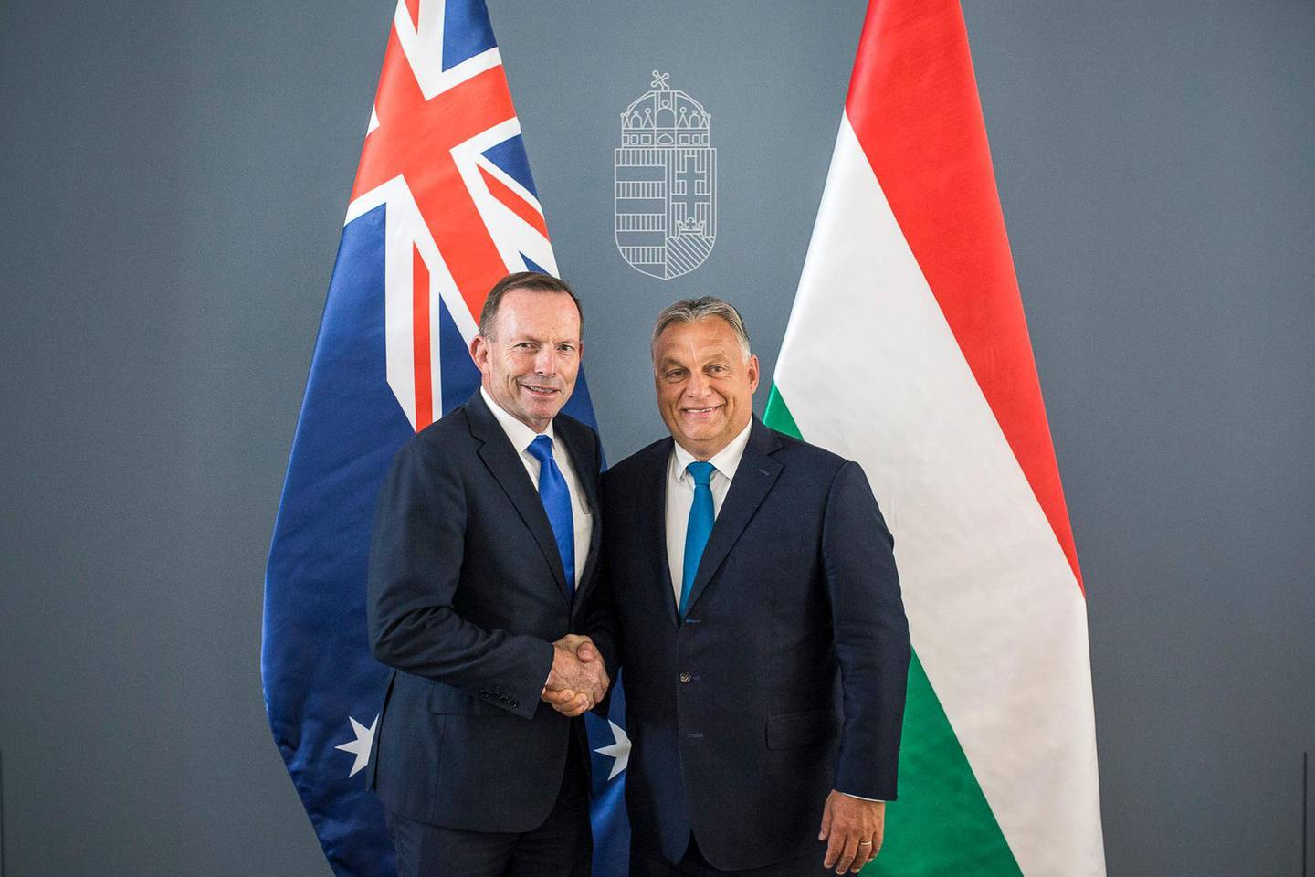 epa07819844 A handout photo made available by the Hungarian Prime Minister's Press Office showing Hungarian Prime Minister Viktor Orban (R) receiving former Prime Minister of Australia Tony Abbott in his office in Budapest, Hungary, 05 September 2019. Media reports state that Tony Abbott addressed the third Budapest Demographic Summit where he delivered a warning about the 'shrinking West' and urged Britain to leave the EU even without a deal.  EPA/Hungarian Prime Minister's Press Office / HANDOUT HUNGARY OUT HANDOUT EDITORIAL USE ONLY/NO SALES