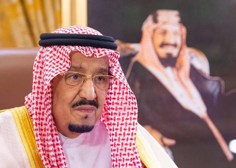 epa08317609 Saudi King Salman bin Abdulaziz delivers a speech on the outbreak of the coronavirus, in Riyadh, Saudi Arabia, 19 March 2020 (issued 24 March 2020). Saudi Arabia's King Salman bin Abdulaziz Al Saud has announced a nation-wide curfew from dawn to dusk starting from 24 March for the duration of 21 days. According to local media reports Saudi Arabia has registered 51 new cases on 23 March bringing the total to 562 cases, 19 of them have recovered.  EPA/BANDAR ALJALOUD / HANDOUT  HANDOUT EDITORIAL USE ONLY/NO SALES