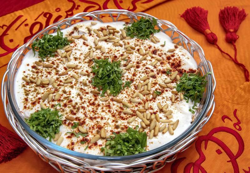 Abu Dhabi, United Arab Emirates, April 10, 2021.  Ramadan Recipes.  Spinach Fateh.Victor Besa/The NationalSection:  ACReporter:  Hanan Sayed Worrell