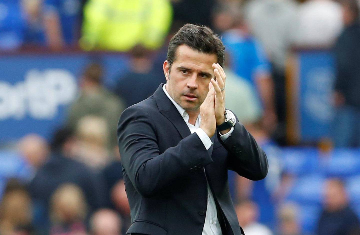 """Soccer Football - Premier League - Everton v Huddersfield Town - Goodison Park, Liverpool, Britain - September 1, 2018  Everton manager Marco Silva speaks applauds fans after the match        Action Images via Reuters/Craig Brough  EDITORIAL USE ONLY. No use with unauthorized audio, video, data, fixture lists, club/league logos or """"live"""" services. Online in-match use limited to 75 images, no video emulation. No use in betting, games or single club/league/player publications.  Please contact your account representative for further details."""