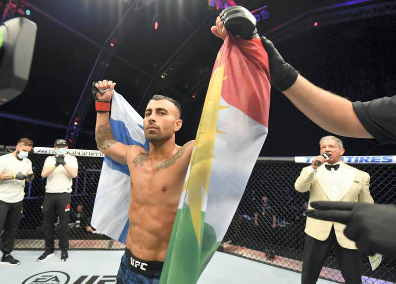 ABU DHABI, UNITED ARAB EMIRATES - JULY 12: Makwan Amirkhani of Finland reacts after his submission victory over Danny Henry in their featherweight fight during the UFC 251 event at Flash Forum on UFC Fight Island on July 12, 2020 on Yas Island, Abu Dhabi, United Arab Emirates. (Photo by Jeff Bottari/Zuffa LLC)
