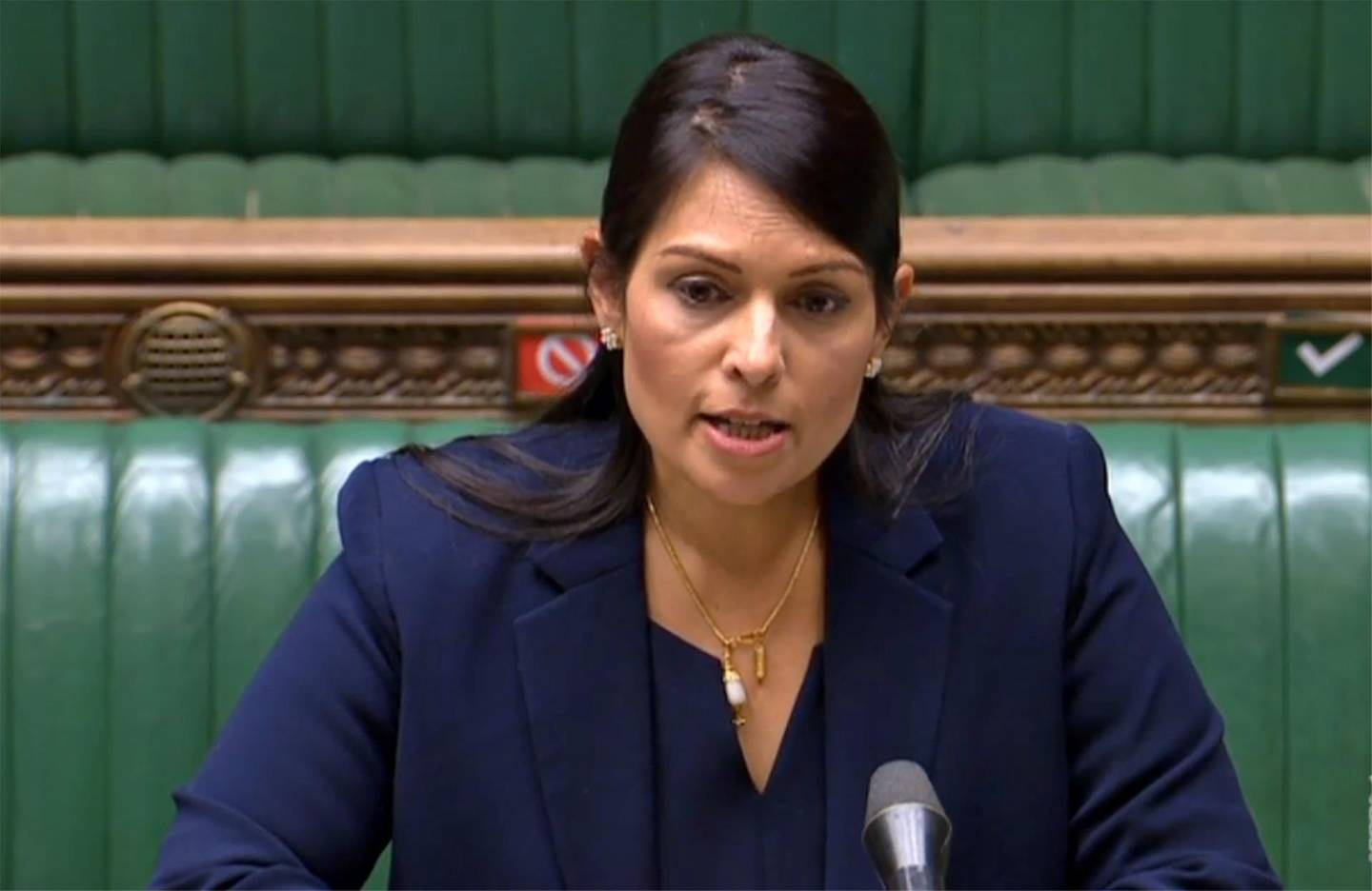 """A video grab from footage broadcast by the UK Parliament's Parliamentary Recording Unit (PRU) shows Britain's Home Secretary Priti Patel as she gives a statement to the House of Commons in London on June 8, 2020, on the public disorder at the Black Lives Matter protests over the weekend.  - RESTRICTED TO EDITORIAL USE - NO USE FOR ENTERTAINMENT, SATIRICAL, ADVERTISING PURPOSES - MANDATORY CREDIT """" AFP PHOTO / PRU """"  / AFP / PRU / STRINGER / RESTRICTED TO EDITORIAL USE - NO USE FOR ENTERTAINMENT, SATIRICAL, ADVERTISING PURPOSES - MANDATORY CREDIT """" AFP PHOTO / PRU """""""
