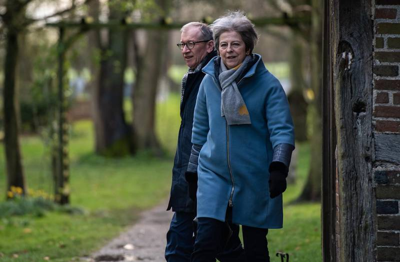 AYLESBURY, UNITED KINGDOM - MARCH 10:  British Prime Minister Theresa May and her husband Philip May leave after attending a church service on March 10, 2019 in Aylesbury, United Kingdom. The Prime Minister faces a vote on her Brexit deal in the Houses of Parliament on Tuesday, March 12, 2019.  (Photo by Chris J Ratcliffe/Getty Images) ***BestPix***