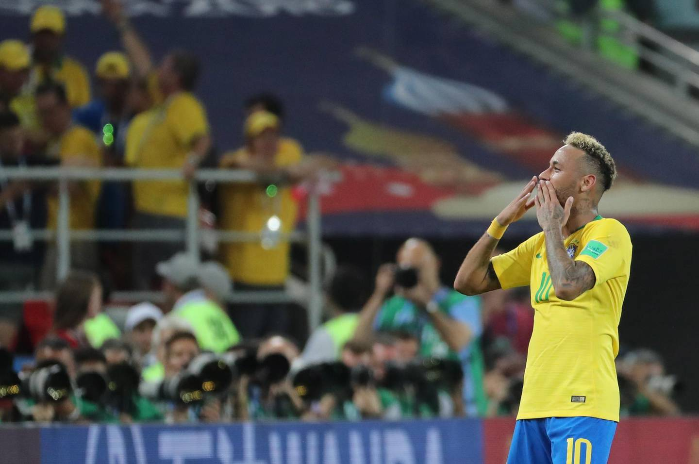epa06845876 Neymar of Brazil reacts after the FIFA World Cup 2018 group E preliminary round soccer match between Serbia and Brazil in Moscow, Russia, 27 June 2018. Brazil won the match 2-0.  (RESTRICTIONS APPLY: Editorial Use Only, not used in association with any commercial entity - Images must not be used in any form of alert service or push service of any kind including via mobile alert services, downloads to mobile devices or MMS messaging - Images must appear as still images and must not emulate match action video footage - No alteration is made to, and no text or image is superimposed over, any published image which: (a) intentionally obscures or removes a sponsor identification image; or (b) adds or overlays the commercial identification of any third party which is not officially associated with the FIFA World Cup)  EPA/ABEDIN TAHERKENAREH   EDITORIAL USE ONLY