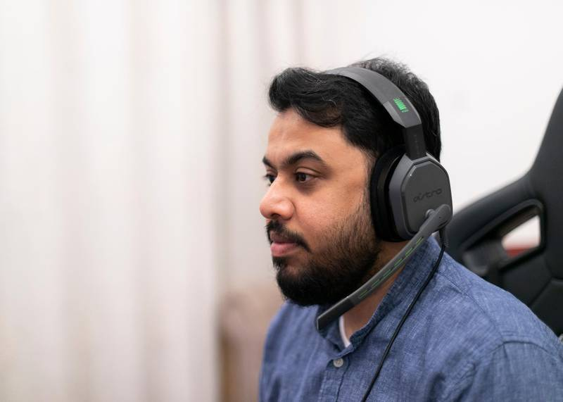 DUBAI, UNITED ARAB EMIRATES. 16 DECEMBER 2020. Gamer Safi Zahid at his home.(Photo: Reem Mohammed/The National)Reporter:Section: