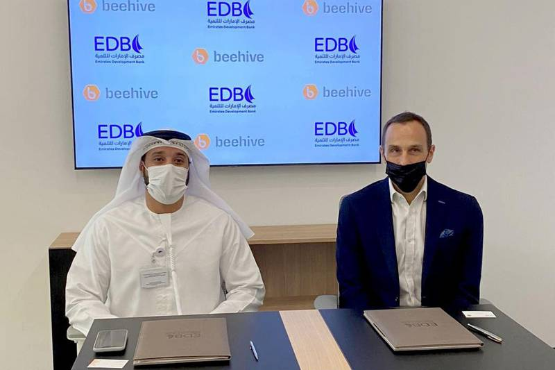 ABU DHABI, 20th June, 2021 (WAM) -- Emirates Development Bank (EDB) today announced that it has signed an agreement with Beehive, the UAE's first Peer-to-Peer (P2P) platform, to expand funding options for the Small and Medium-sized Enterprises (SMEs). Wam