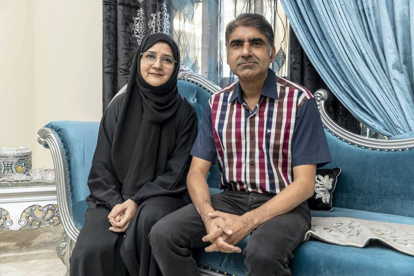 Sadaf Ather and her husband Ather Farook at their home in Mirdif. Their family survivied two members contracting Covid-19 on June 6th, 2021. Antonie Robertson / The National.Reporter: Panna Munyal for National