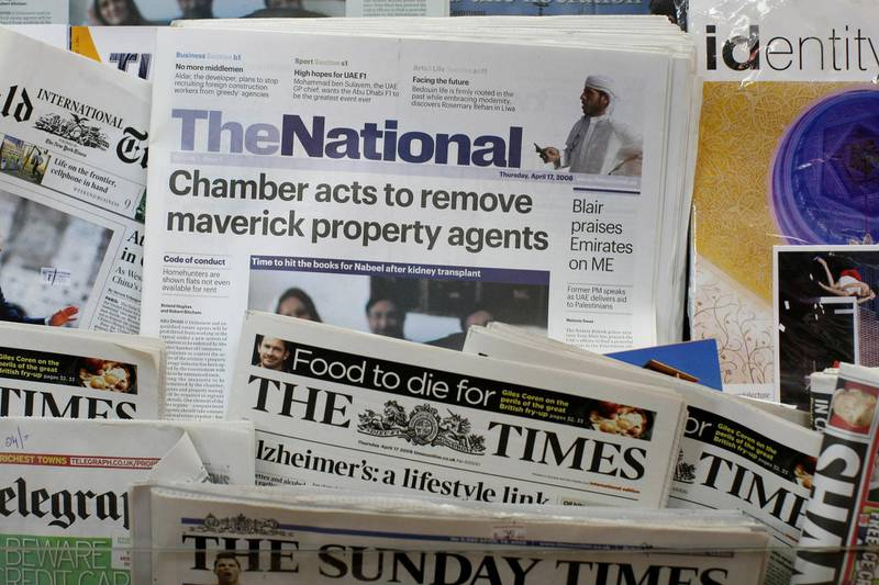 Abu Dhabi - April 17th,  2008 -  The First edition of the National sits in the newspaper stands  after Abu dhabi Media Company distribution team deliver the first ever edition of The National in Central Abu Dhabi  ( Andrew Parsons  /  The National ) *** Local Caption *** ap002-1704-paper_2.jpg