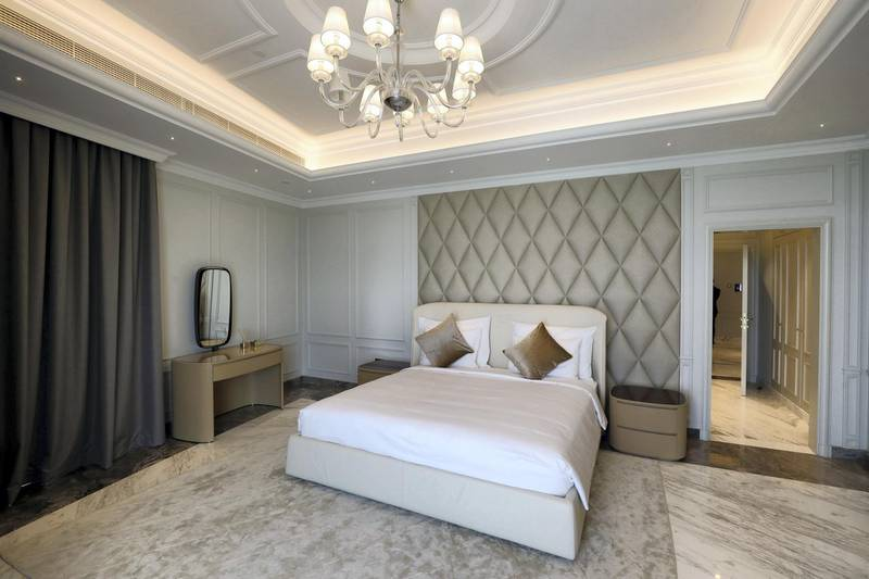 Dubai, United Arab Emirates - August 13, 2018: The guest bedroom at the Sweden Beach Palace. Monday, August 13th, 2018 in Dubai. Chris Whiteoak / The National
