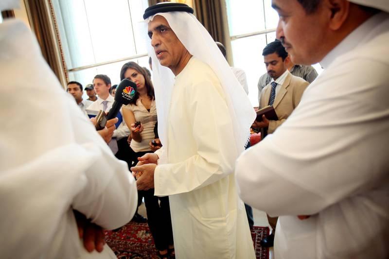 United Arab Emirates - Ras Al Khaimah - July 20, 2010  BUSINESS: The Crown Prince and Deputy Ruler of Ras Al Khaimah, H.H. Sheikh Saud Bin Saqr Al Qasimi (cq-al), left, touts the Emirate's economic developments during a press junket at his palace in Ras Al Khaimah on Tuesday, July 20, 2010. Amy Leang/The National