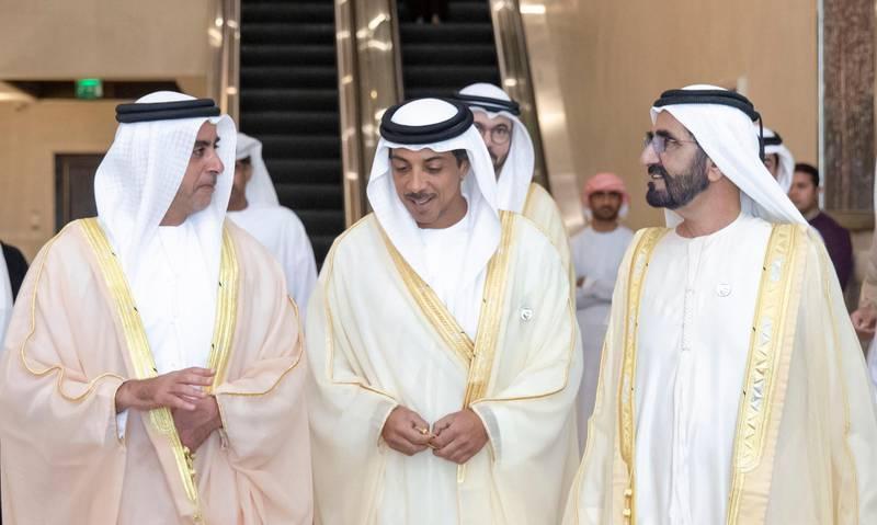 General Sheikh Saif bin Zayed Al Nahyan, Deputy Prime Minister and Minister of the Interior; H.H. Sheikh Mansour bin Zayed Al Nahyan, Deputy Prime Minister and Minister of Presidential Affairs, and Sheikh Mohammed bin Rashid Al Maktoum, Vice President, Prime Minister and Ruler of Dubai. Wam
