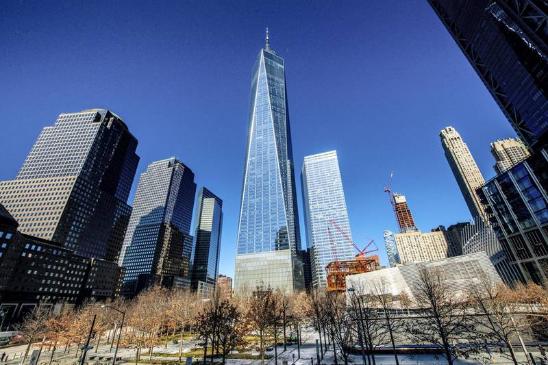 NEW YORK, NEW YORK - MARCH 05: A view of the One World Trade Center building on March 05, 2021 in New York City. (Photo by Roy Rochlin/Getty Images)