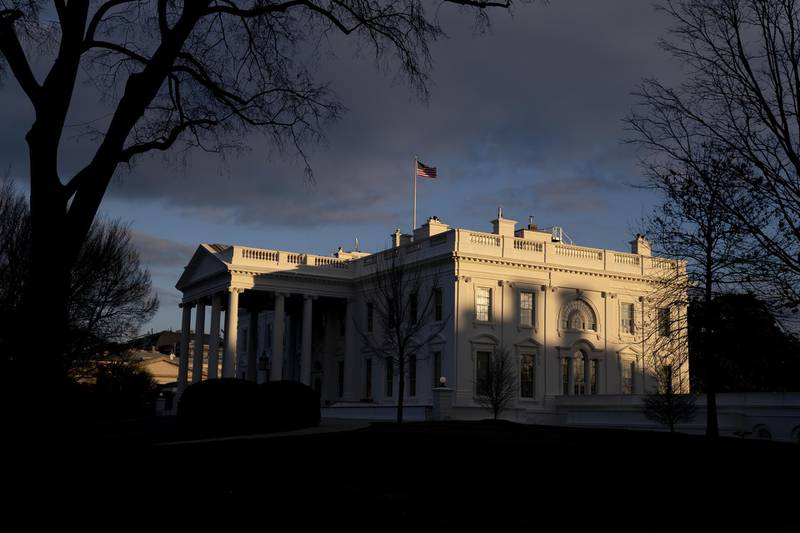 The White House in Washington, D.C., U.S., on Wednesday, Jan. 27, 2021. U.S.  PresidentJoe Bidensigned a series of directives to combat climate change that he presented as a boost for U.S. employment, arguing that improvements in infrastructure and technology to curb global warming will add millions of jobs.Photographer: Stefani Reynolds/Bloomberg