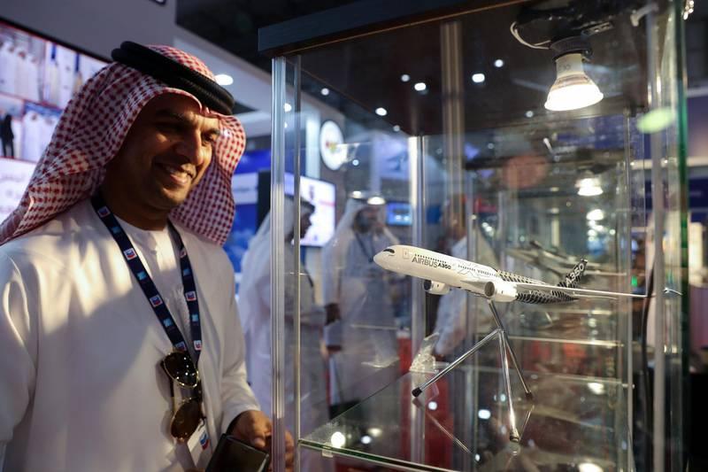 Dubai, United Arab Emirates - November 14th, 2017: Jasim Hassan looks at a model of an Airbus A350 at the Dubai airshow. Tuesday, November 14th, 2017 at Al Maktoum Airport, Dubai. Chris Whiteoak / The National