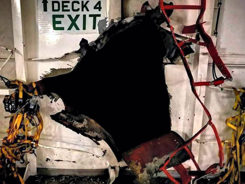 Initial pictures of the damage to Helios Ray. Courtesy Intel Omarion