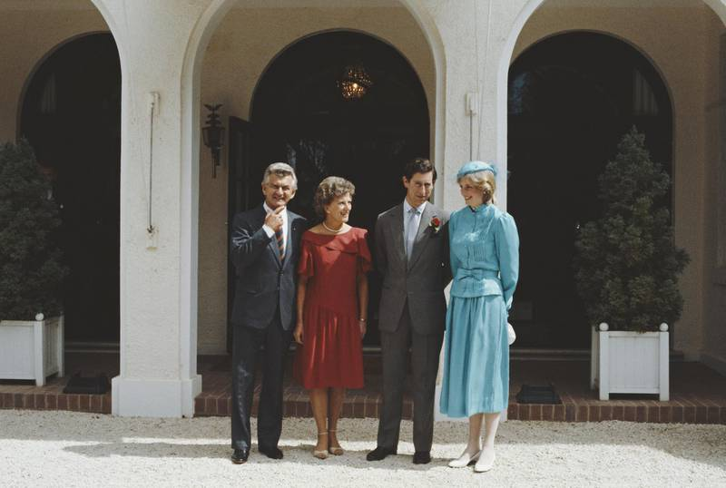 From left to right, Australian Prime Minister Bob Hawke with his wife Hazel, and the Prince and Princess of Wales in front of Government House in Canberra, Australia, 24th March 1983.   (Photo by Fox Photos/Hulton Archive/Getty Images)