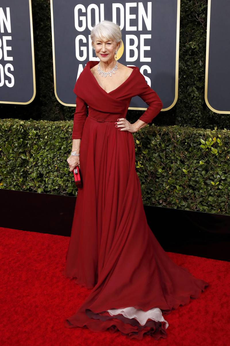 epa08105902 Helen Mirren arrives for the 77th annual Golden Globe Awards ceremony at the Beverly Hilton Hotel, in Beverly Hills, California, USA, 05 January 2020. Dress by Dior. EPA-EFE/NINA PROMMER