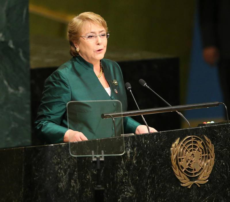 FILE - In this Sept. 21, 2016 file photo, then Chilean President Michelle Bachelet speaks during the 71st session of the United Nations General Assembly at U.N. headquarters. Diplomats say Secretary-General Antonio Guterres has chosen former president Bachelet to be the next UN human rights chief. The diplomats said Wednesday, Aug. 8, 2018, that UN Deputy Secretary-General Amina Mohammed told a group of ambassadors of Guterres' decision on Tuesday. (AP Photo/Seth Wenig, File)