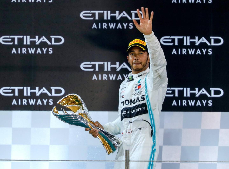 Abu Dhabi, United Arab Emirates, December 1, 2019.   Formula 1 Etihad Airways Abu Dhabi Grand Prix. --   Lewis Hamilton (Mercedes)  takes the World Championship Formula1 title. Victor Besa / The National Section:  SP Reporter:  Simon Wilgress-Pipe