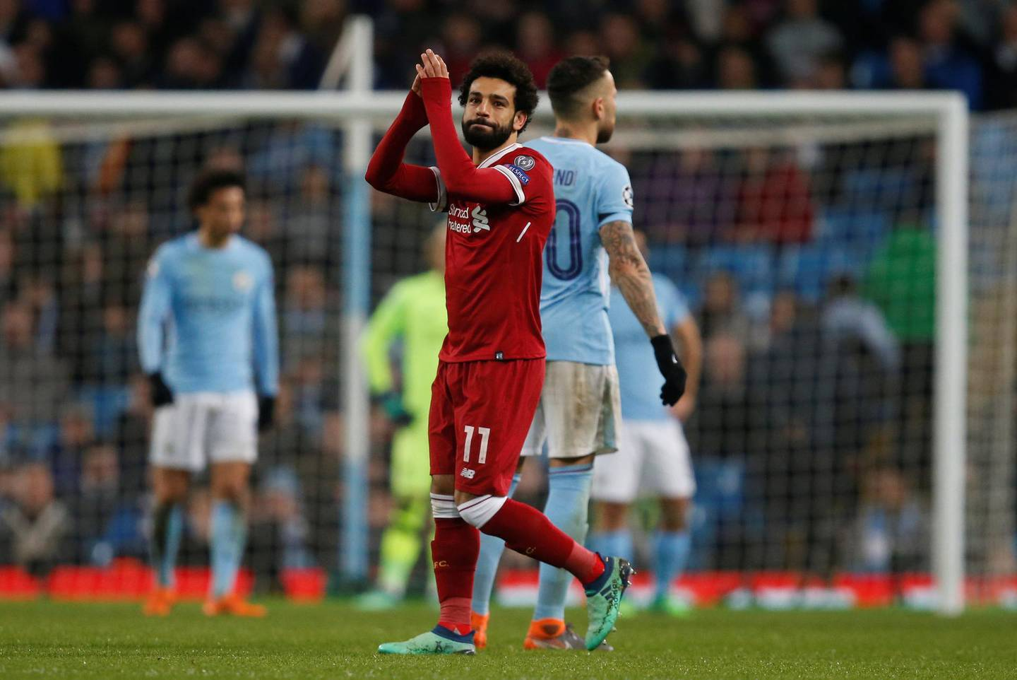 Soccer Football - Champions League Quarter Final Second Leg - Manchester City vs Liverpool - Etihad Stadium, Manchester, Britain - April 10, 2018   Liverpool's Mohamed Salah applauds fans as he walks off to be substituted   REUTERS/Andrew Yates