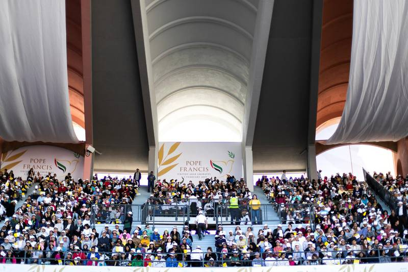 ABU DHABI, UNITED ARAB EMIRATES - FEBRUARY, 5 2019.Catholics attend first papal mass on Arabian Peninsula.(Photo by Reem Mohammed/The National)Reporter: Section:  NA