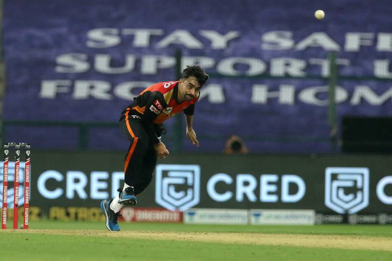 Rashid Khan of Sunrisers Hyderabad bowls during match 8 of season 13 of the Dream 11 Indian Premier League (IPL) between the Kolkata Knight Riders and the Sunrisers Hyderabad held at the Sheikh Zayed Stadium, Abu Dhabi in the United Arab Emirates on the 26th September 2020.  Photo by: Vipin Pawar  / Sportzpics for BCCI