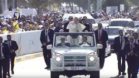 Pope Francis arrives at Abu Dhabi Mass in Mercedes Benz 'Popemobile' G-Wagen
