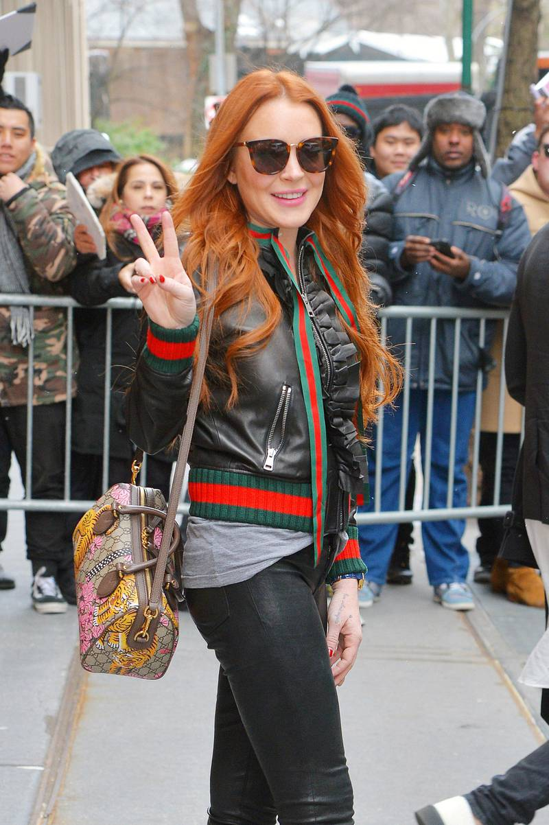 NEW YORK - FEBRUARY 13: Lindsay Lohan is seen leaving ABC studios after a taping of The View on February 13, 2017 in New York, New York.  (Photo by Josiah Kamau/BuzzFoto via Getty Images)