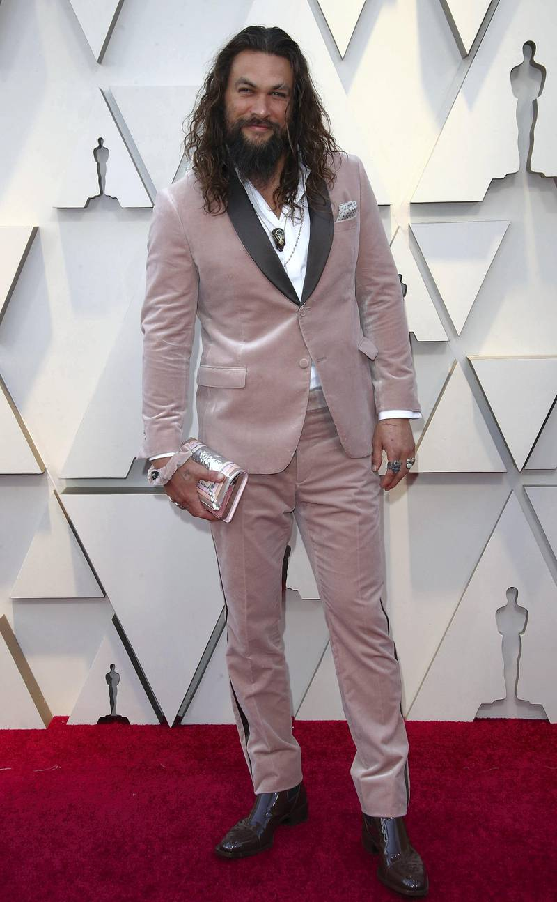 HOLLYWOOD, CA - FEBRUARY 24: Jason Momoa attends the 91st Annual Academy Awards at Hollywood and Highland on February 24, 2019 in Hollywood, California. (Photo by Dan MacMedan/Getty Images)
