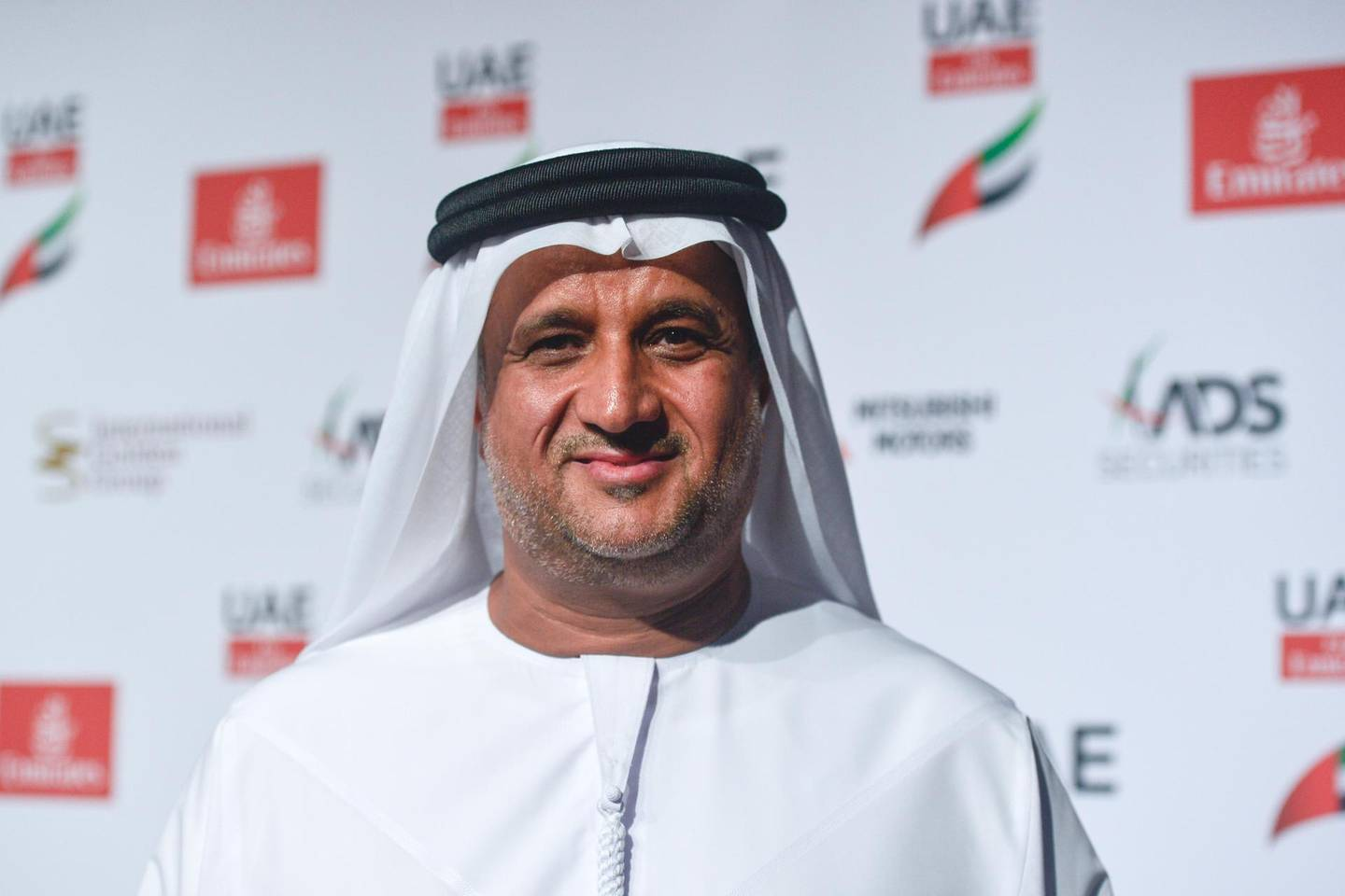 Matar Suhail Al Yabhouni Al Dhaheri, the President of the UAE Team Emirates, the UAEs first-ever professional cycling team, unveiled today a new name, logo, team kit, and three new sponsors: Emirates, Abu Dhabi Securities and International Golden Group.On Tuesday, February 21, 2017, in Crowne Plaza Yas Island, Abu Dhabi, United Arab Emirates. (Photo by Artur Widak/NurPhoto via Getty Images)