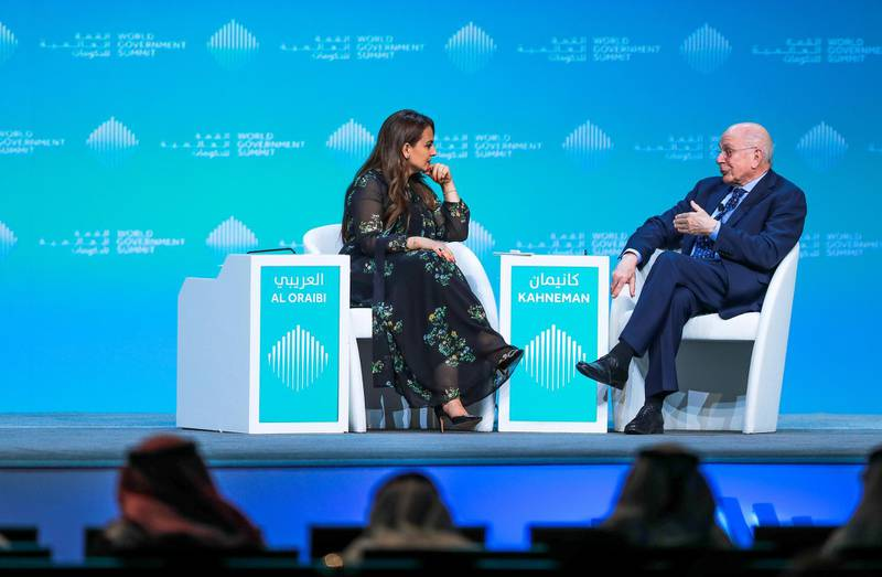 Dubai, U.A.E., February 11, 2019. World Government Summit day 2-DXB.-- The Art and Science of Decision Making: Daniel Kahneman, Noble Laureate and Professor of Psychology and Public Affairs, Princeton University Moderated by Mina Al Oraibi, The National.Victor Besa/The NationalSection:  NAReporter: