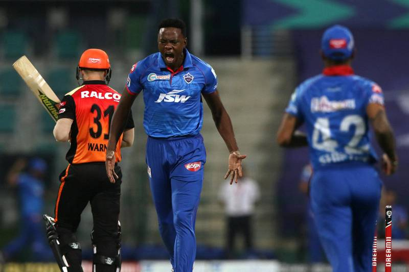 Kagiso Rabada of Delhi Capitals celebrates the wicket of David Warner captain of Sunrisers Hyderabad during the qualifier 2 match of season 13 of the Dream 11 Indian Premier League (IPL) between the Delhi Capitals and the Sunrisers Hyderabad at the Sheikh Zayed Stadium, Abu Dhabi in the United Arab Emirates on the 8th November 2020.  Photo by: Pankaj Nangia  / Sportzpics for BCCI