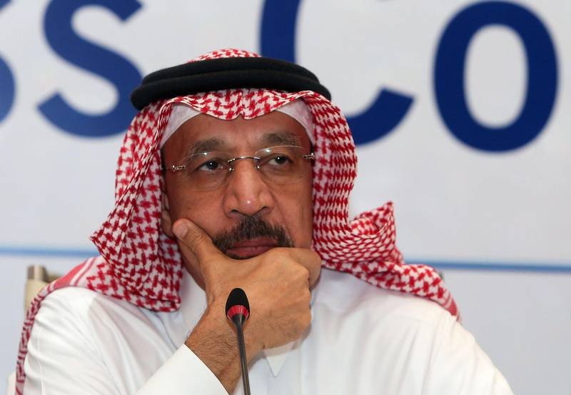 Saudi Energy Minister Khaled al-Faleh holds a press conference during the 7th Meeting of the Joint Ministerial Monitoring Committee in Muscat on January 21, 2018. Faleh called for extending cooperation between OPEC and non-OPEC oil producers beyond 2018 after a deal to shore up crude prices. / AFP PHOTO / MOHAMMED MAHJOUB