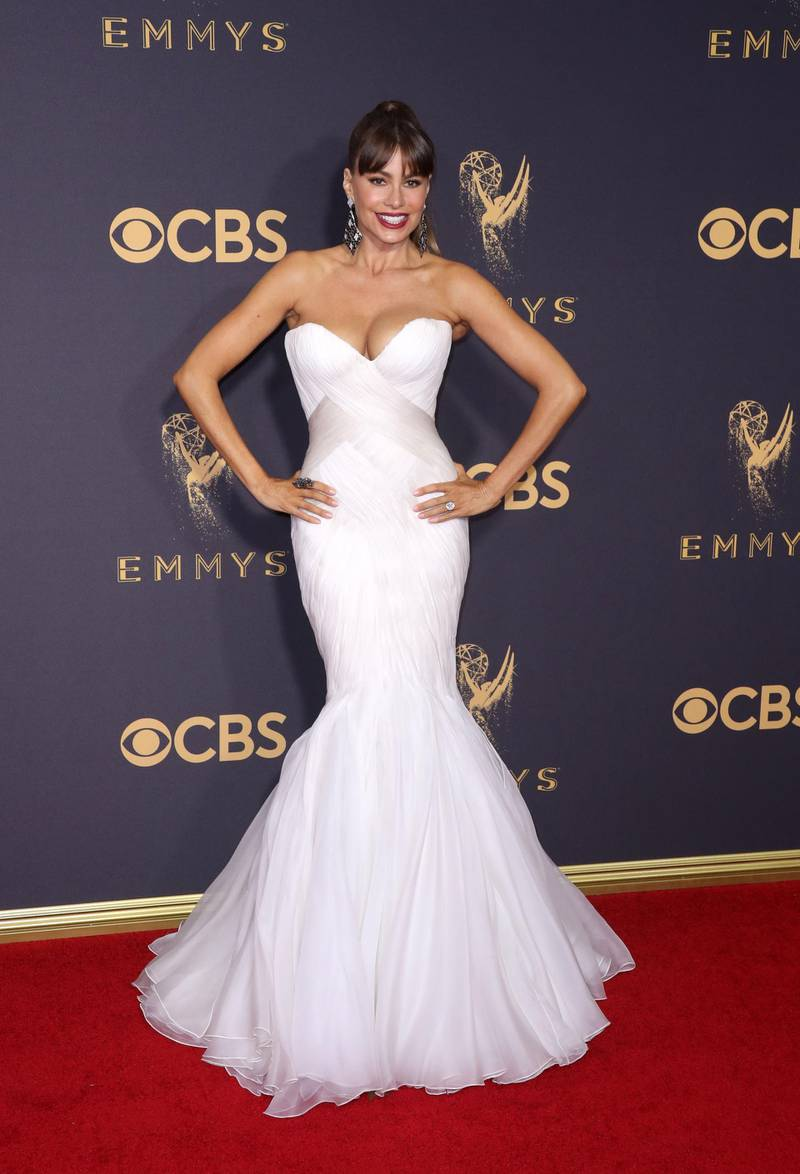 epa06211641 Sofia Vergara arrives for the 69th annual Primetime Emmy Awards ceremony held at the Microsoft Theater in Los Angeles, California, USA, 17 September 2017. The Primetime Emmys celebrate excellence in national primetime television programming.  EPA-EFE/JIMMY MORRIS