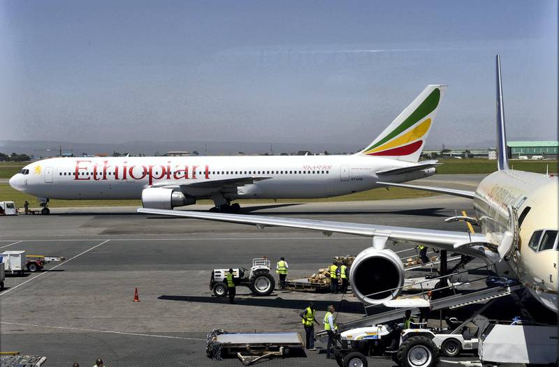 An Ethiopian Boeing 737 flight leaves the hanger in Nairobi on January 26, 2010. The crash of an Ethiopian Airlines jet, in which 90 people are feared dead on January 25, 2010, comes as a blow to a company considered the jewel of Ethiopia's industry and tipped for exponential growth. AFP PHOTO/SIMON MAINA (Photo by SIMON MAINA / AFP)