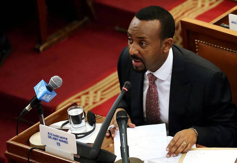 FILE PHOTO: Ethiopia's newly elected Prime Minister Abiy Ahmed addresses the House of Peoples' Representatives in Addis Ababa, Ethiopia April 19, 2018. REUTERS/Tiksa Negeri/File Photo