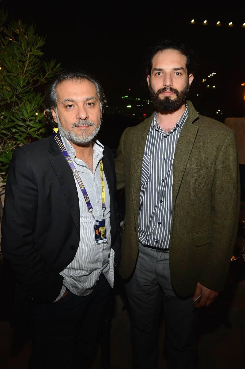 DOHA, QATAR - NOVEMBER 21:  (L-R)  Hatem Ali  and producer Wassem Al Marzouki attend the Khaleeji Reception at the Al Bander Restaurant during the 2012 Doha Tribeca Film Festival  on November 21, 2012 in Doha, Qatar.  (Photo by Mark Davis/Getty Images for Doha Film Institute)
