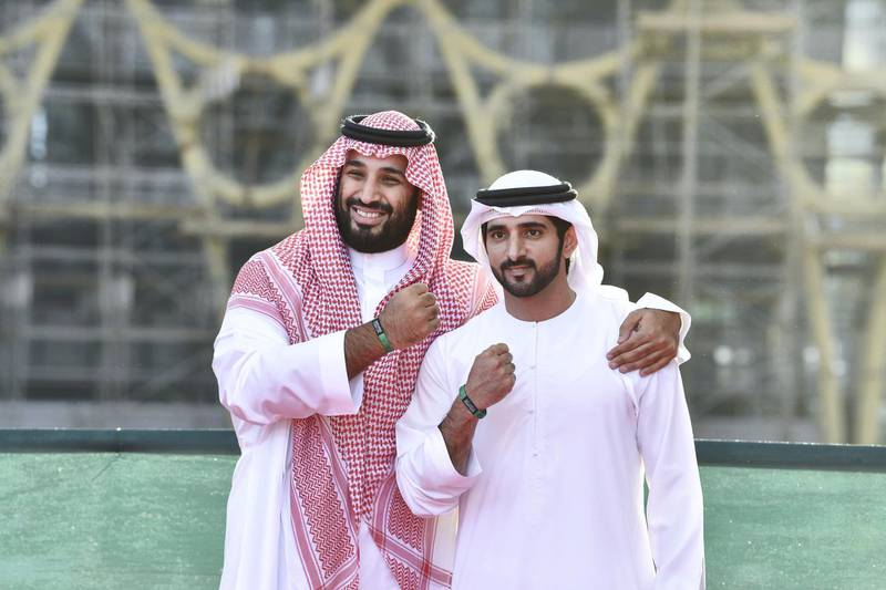 Dubai Crown Prince Hamdan bin Mohammed and Saudi Crown Prince Mohammed bin Salman visit Expo2020 Dubai on the second day of his visit to the UAE. Wam