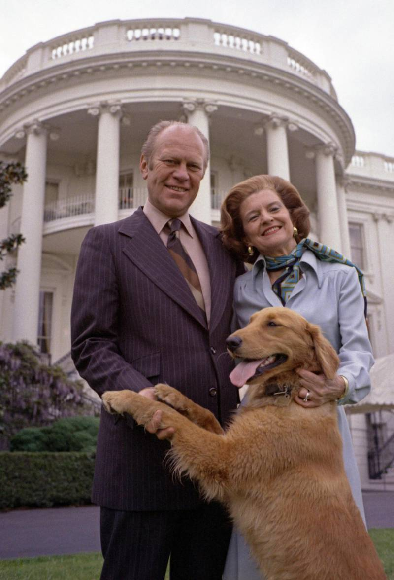 Mandatory Credit: Photo by Everett/Shutterstock (10290649a)President Gerald Ford and wife Betty pose with Liberty, their pet golden retriever. South Lawn of the White House. May 9, 1975. Photo by David Hume Kennerly.Historical Collection