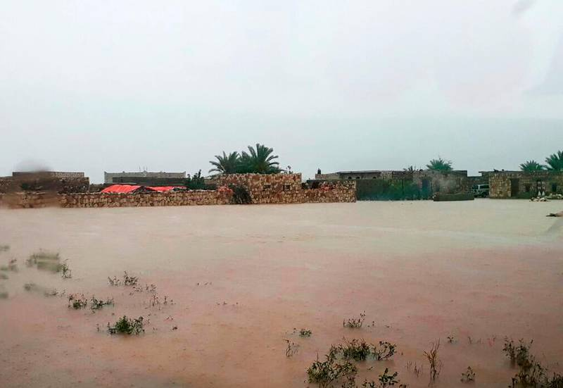 Heavy rain and strong winds cause flooding and damage in Hadibu as Cyclone Mekunu pounded the Yemeni island of Socotra, Thursday, May 24, 2018. At least 17 people were reported missing. The powerful storm remained on path to strike Oman this weekend. (AP Photo/Abdullah Morgan)