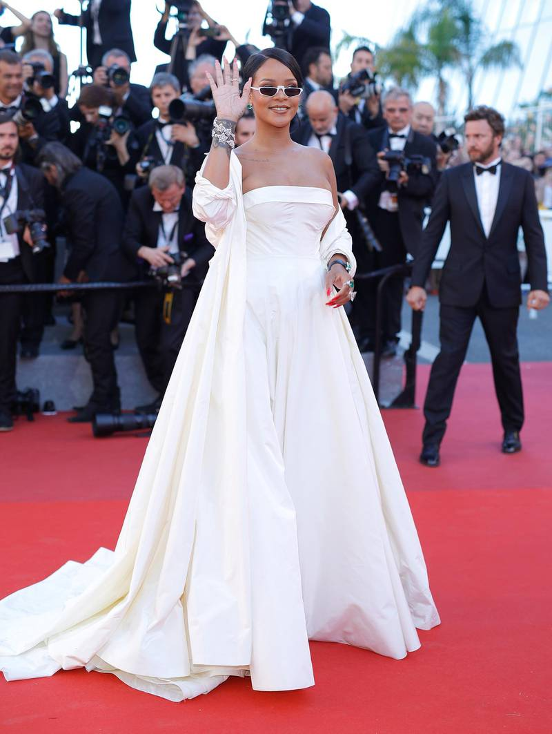 """CANNES, FRANCE - MAY 19:  Rihanna attends the """"Okja"""" screening during the 70th annual Cannes Film Festival at Palais des Festivals on May 19, 2017 in Cannes, France.  (Photo by Andreas Rentz/Getty Images)"""
