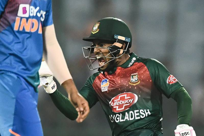 Bangladesh's Mushfiqur Rahim celebrates their victory during the first T20 international cricket match of a three-match series between Bangladesh and India, at Arun Jaitley Cricket Stadium in New Delhi on November 3, 2019. ----IMAGE RESTRICTED TO EDITORIAL USE - STRICTLY NO COMMERCIAL USE-----  / AFP / Jewel SAMAD / ----IMAGE RESTRICTED TO EDITORIAL USE - STRICTLY NO COMMERCIAL USE-----