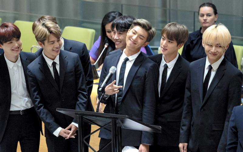 Members of the Korean K-Pop group BTS attend a meeting at the United Nations high level event regarding youth during the 73rd session of the United Nations General Assembly at U.N. headquarters, Monday, Sept. 24, 2018. (AP Photo/Craig Ruttle)